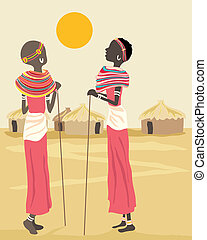 african women - a hand drawn illustration of two african...
