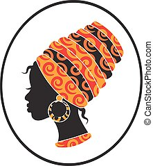 African women face in the frame - silhouette of a black...