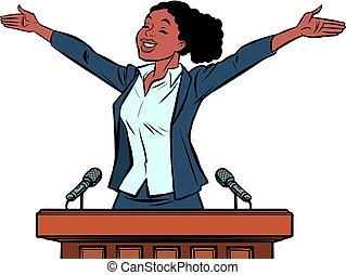african women politician speaker on the podium