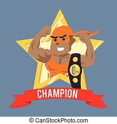 African wrestler champion in emblem