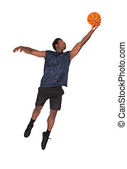African Young Man Playing Basketball