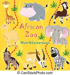 African zoo. Herbivorous animals. - A set of illustrations...