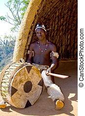 african zulu drum player