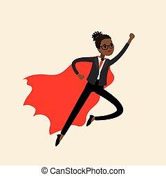Africanamerican Woman looking like Super hero flying,