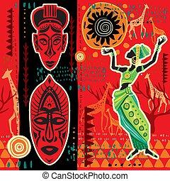 africano, étnico, fundo, arabescos