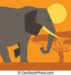 africano, étnico, plano de fondo, con, ilustración, de, elephant.