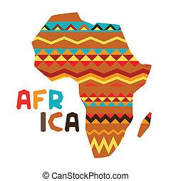 africano, étnico, plano de fondo, con, ilustración, de, florido, map.