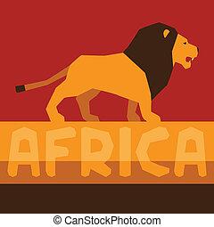 africano, étnico, plano de fondo, con, ilustración, de, lion.