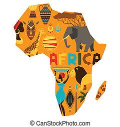 africano, étnico, plano de fondo, con, ilustración, de, map.