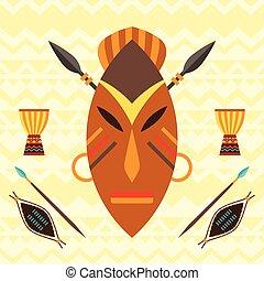 africano, étnico, plano de fondo, con, ilustración, de, mask.