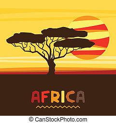 africano, étnico, plano de fondo, con, ilustración, de, savanna.