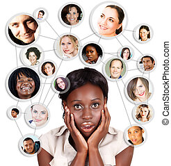 africano, amercian, donna affari, e, sociale, rete