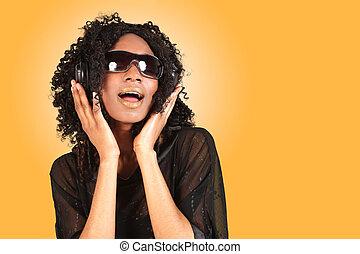africano, amercian, mulher, cantando