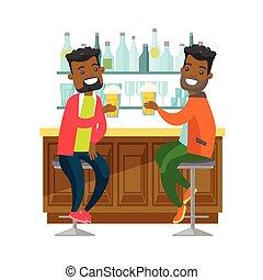 africano-americano, amigos, bebendo, cerveja, em, um, bar.