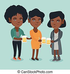 africano-americano, amigos, retinir, óculos, de, beer.