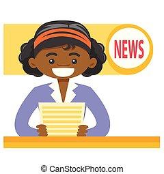 africano-americano, anchorwoman, elaboração do relatório, a,...