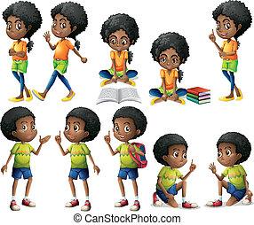 africano-americano, crianças