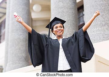 africano americano donna, studente, con, diploma