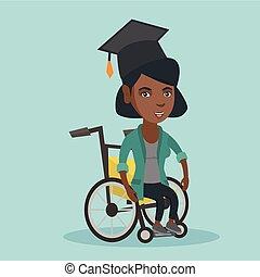 africano-americano, graduado, wheelchair., sentando
