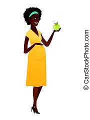 africano-americano, mulher grávida, segurando, apple.