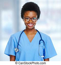 africano-americano, nurse.
