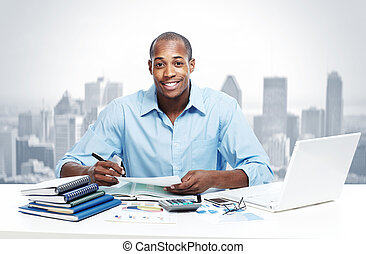 africano-americano, pretas, homem negócios, em, escritório.
