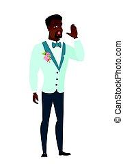 africano-americano, sposo, chiamata, per, help.