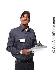 africano-americano, trabalhador, man.