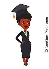 africano-americano, vetorial, illustration., graduado