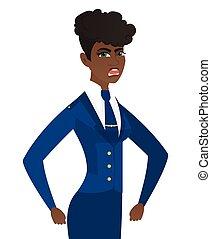 africano-americano, zangado, screaming., stewardess, jovem