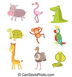 africano, animais, ícone, jogo