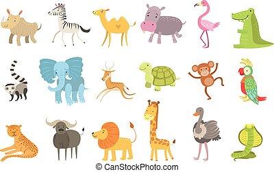 africano, animais, ilustração, jogo