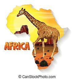 africano, animale selvaggio, mappa