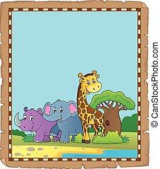 africano, animali, 4, pergamena