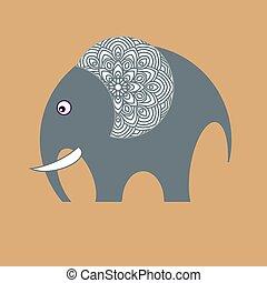 africano, animals., pequeno, alegre, elefante, toy.