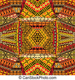 africano, arabescos, colagem, feito, de, têxtil, patchworks