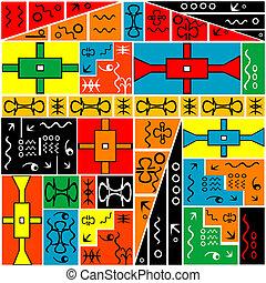 africano, arabescos, experiência colorida, geométrico