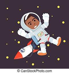 africano, astronauta, espacio