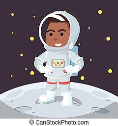 africano, astronauta, luna