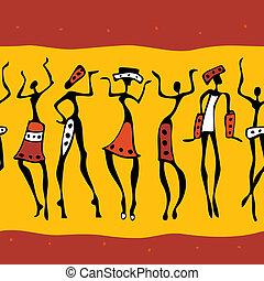 africano, bailarines, silhouette.