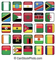 africano, bandeiras, quadrado, ícones