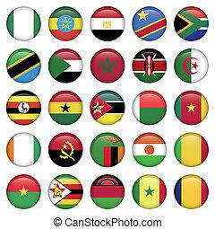 africano, bandeiras, redondo, ícones