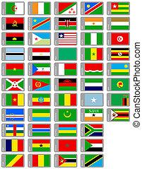 africano, banderas, conjunto
