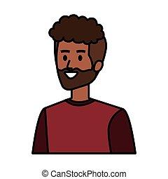 africano, carácter, joven, avatar, hombre