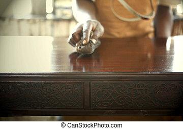 africano, carpintero, pulido, antigüedades