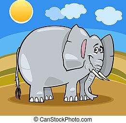 africano, cartone animato, illustrazione, elefante