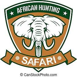 africano, caza, safari, club, señal
