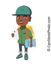 africano, colegial, sostener cellphone, y, libro de texto