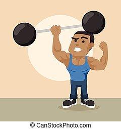 africano, construtor corpo, levantamento, gigante, dumbbell, com, um, mão