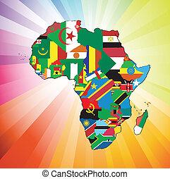 africano, continente, bandera, mapa